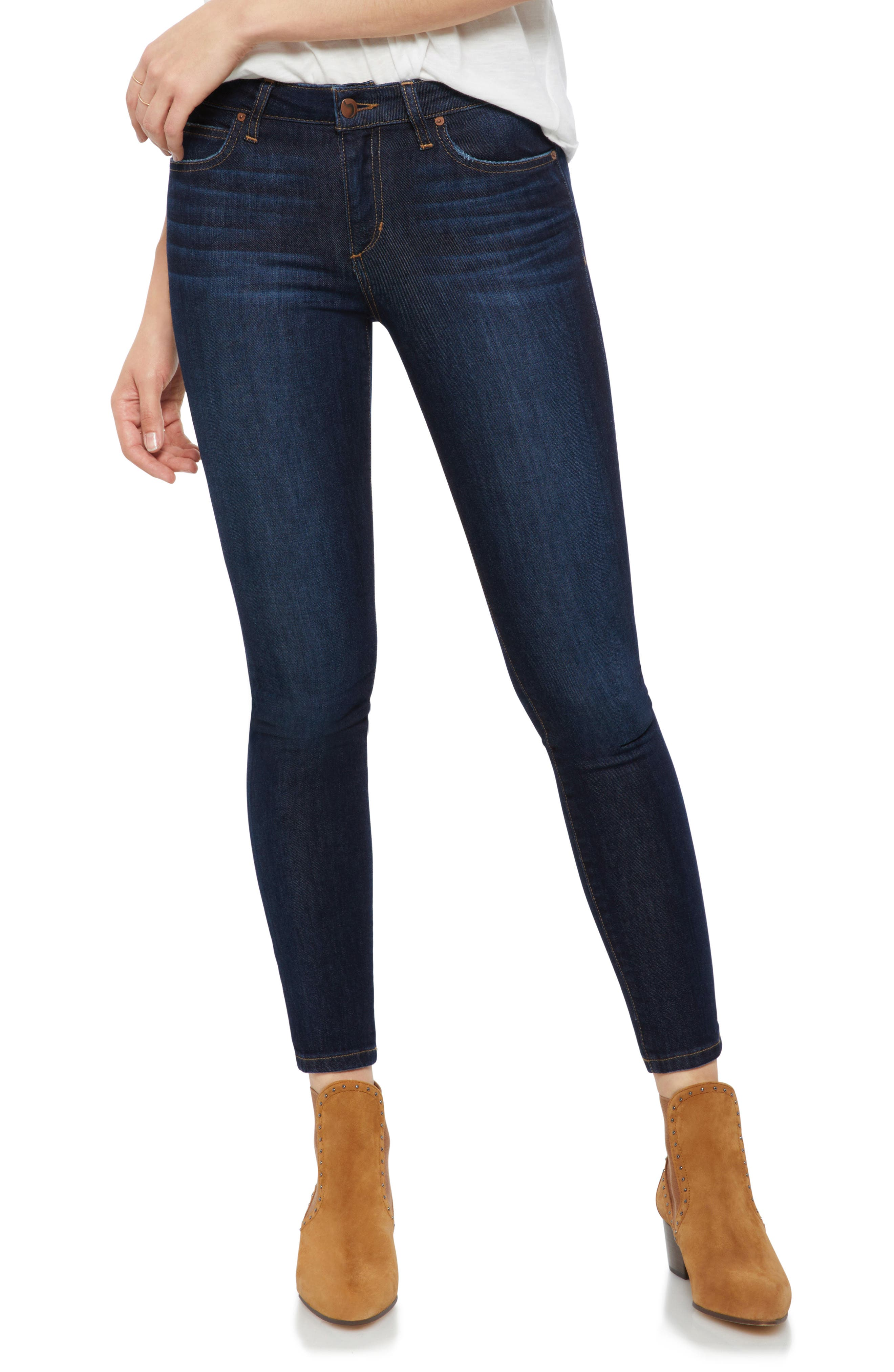 Classic topstitching pops against the dark wash of these supersoft and whiskered capsule-wardrobe skinny jeans that have vintage-cool vibes with modern attitude. Style Name: Joe\\\'s Icon Ankle Skinny Jeans (Gianna). Style Number: 5597582. Available in stores.