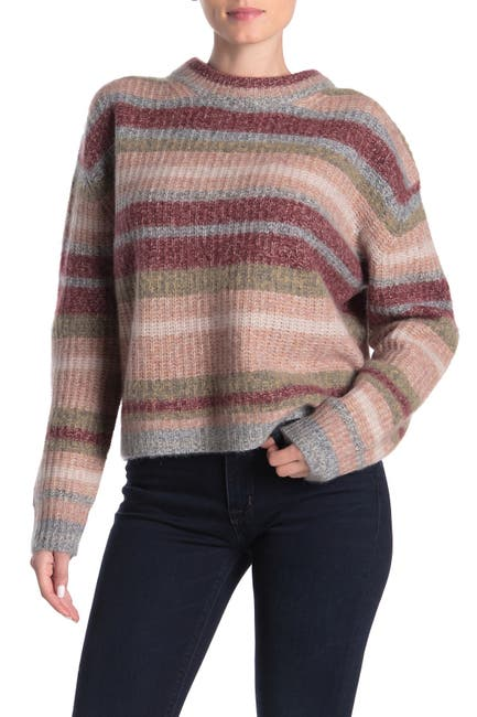 Image of 360 Cashmere Ember Striped Wool & Cashmere Sweater