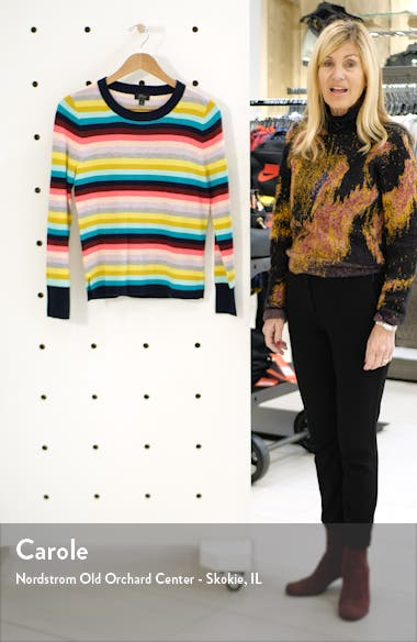 Multistripe Long Sleeve Everyday Cashmere Crewneck Sweater, sales video thumbnail