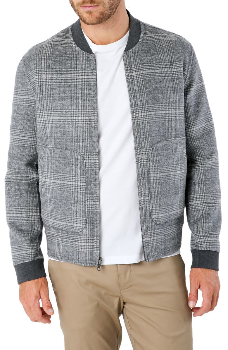 7 DIAMONDS Glasgow Slim Fit Reversible Wool Blend Bomber Jacket, Main, color, GREY