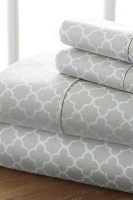 Image of IENJOY HOME Home Spun Premium Ultra Soft Quatrefoil Pattern 3-Piece Twin Bed Sheet Set - Gray