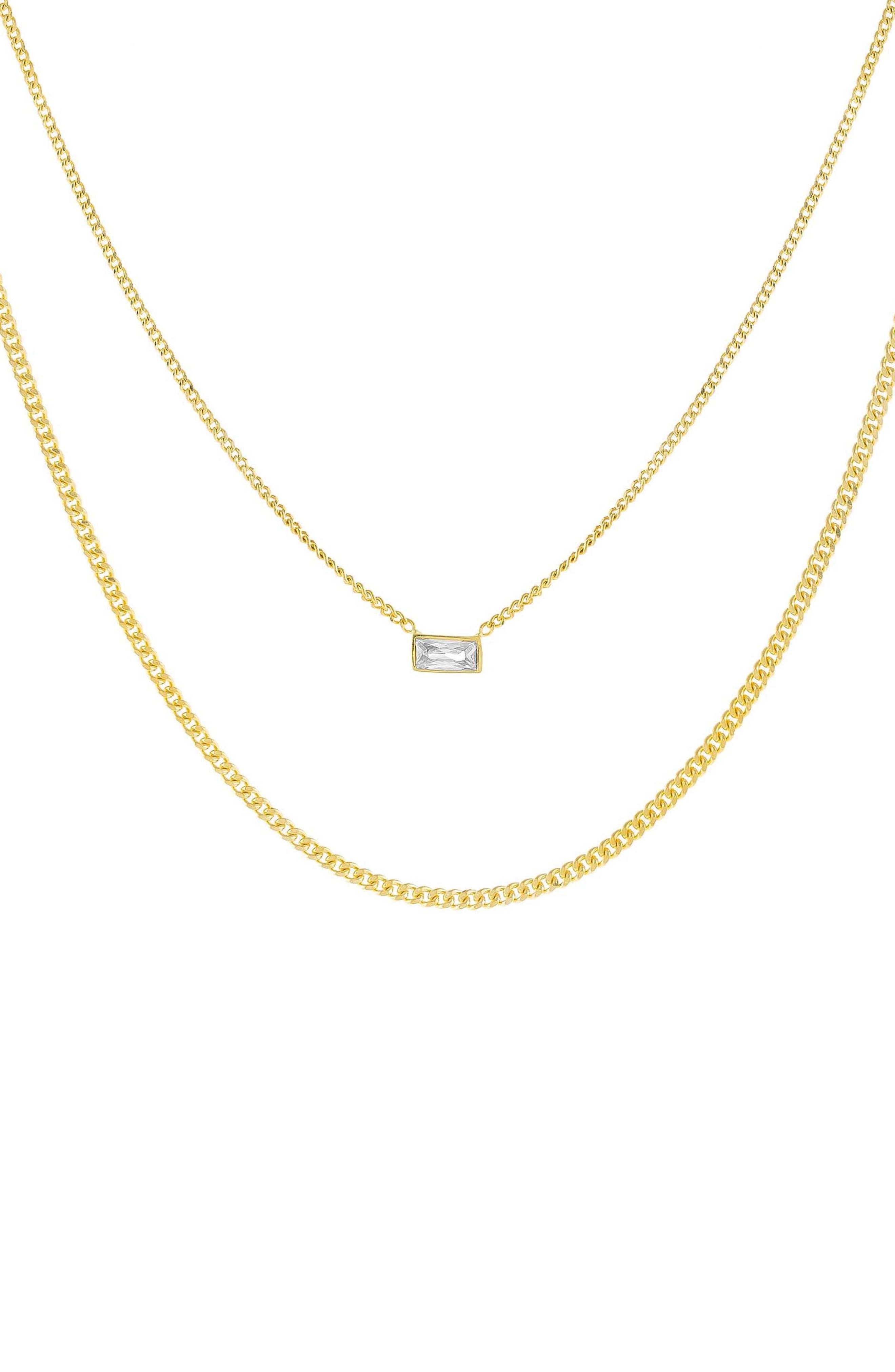Women's Adina's Jewels Cubic Zirconia Baguette Double Chain Necklace