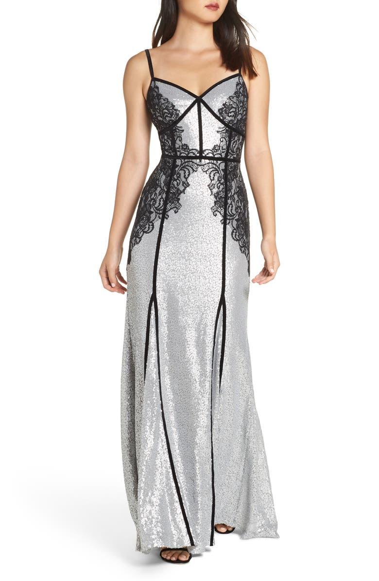 TADASHI SHOJI Sleeveless Sequin & Lace Gown, Main, color, SILVER/ BLACK