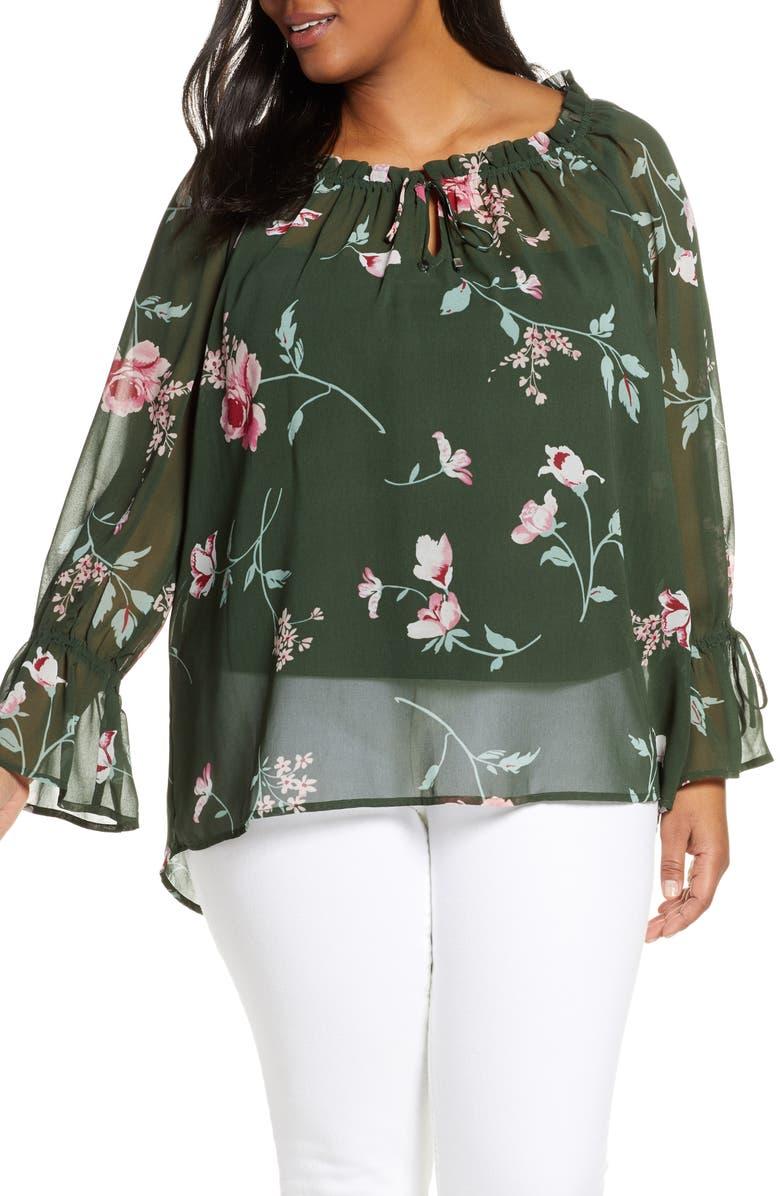 ESTELLE Dreamland Floral Chiffon Blouse, Main, color, GREEN/ PINK