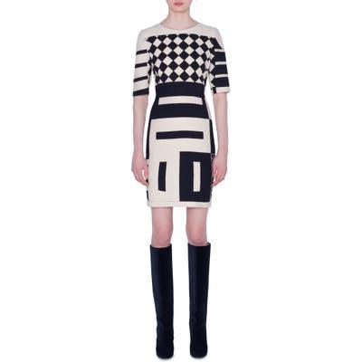 Akris Kaleidoscope Print Double Face Wool Blend Dress, Black