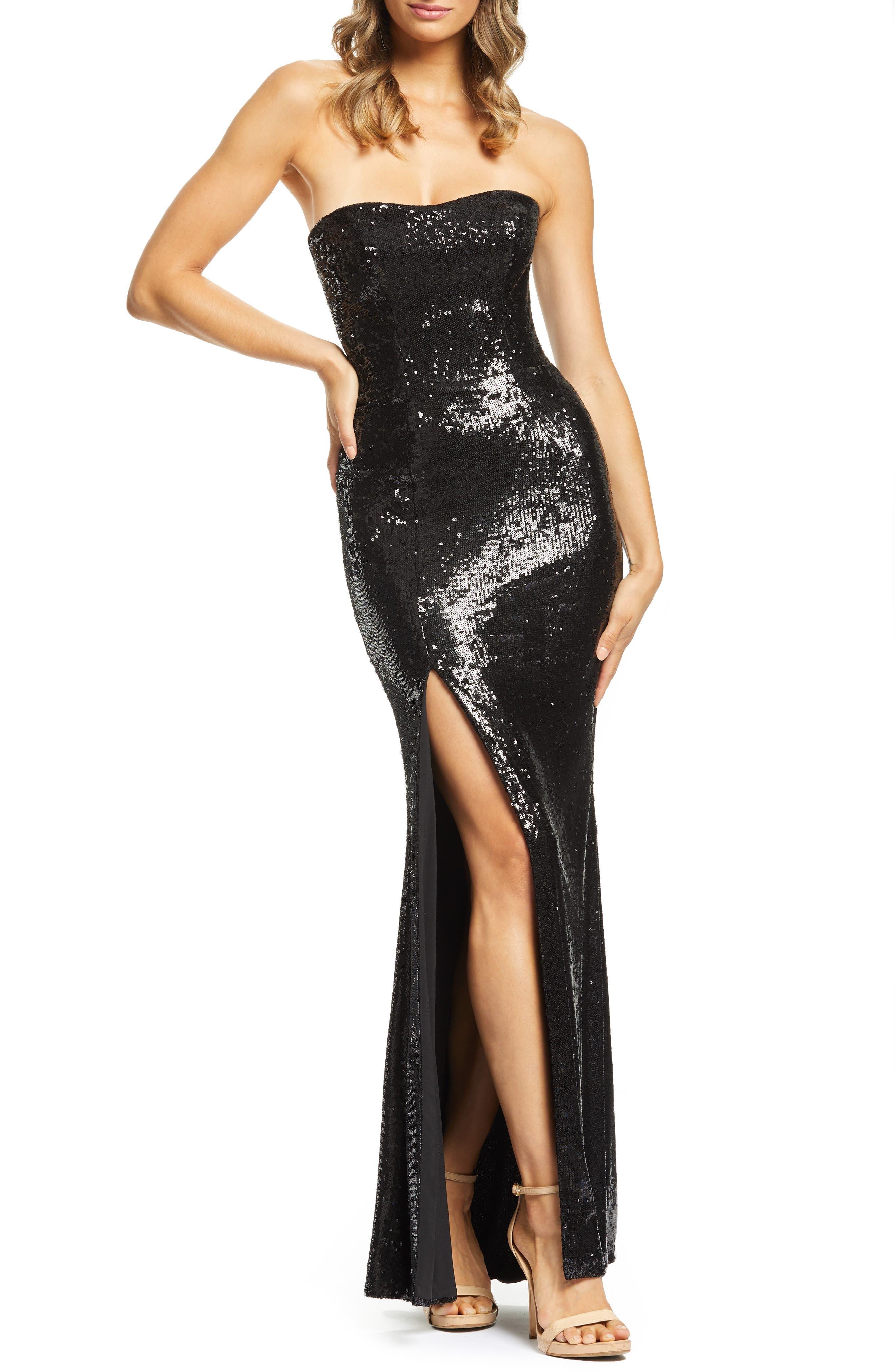 Dress The Population Ellen Strapless Sequin Evening Dress, Black