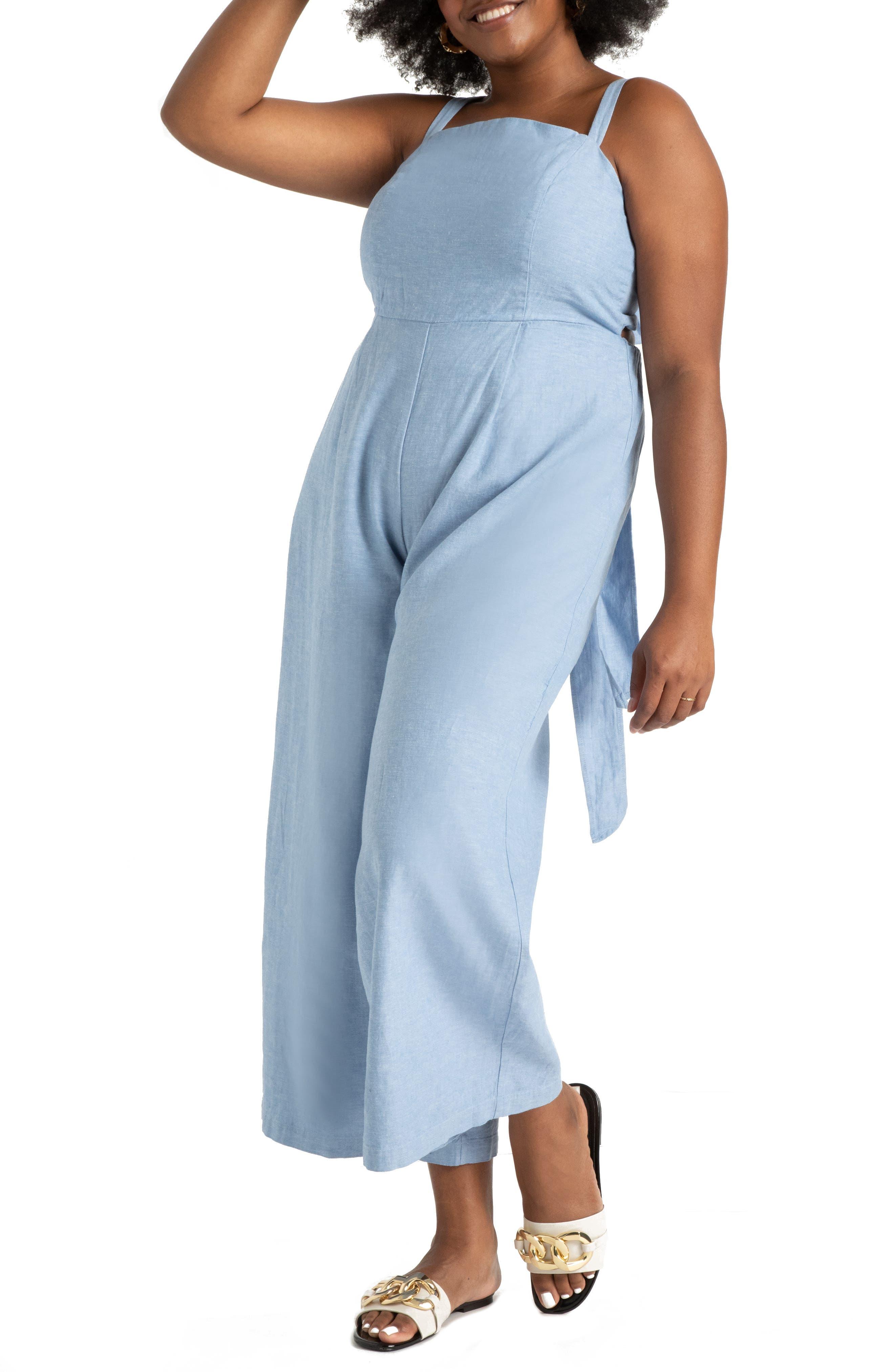 Cross Back Wide Leg Linen & Cotton Chambray Jumpsuit