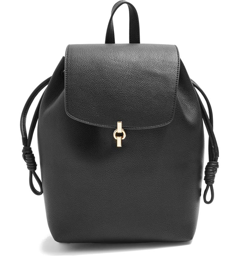 TOPSHOP Lucy Metal Tab Backpack, Main, color, 001