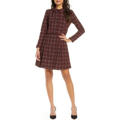 Julia Jordan Long Sleeve Mock Two-Piece Tweed Dress, Red