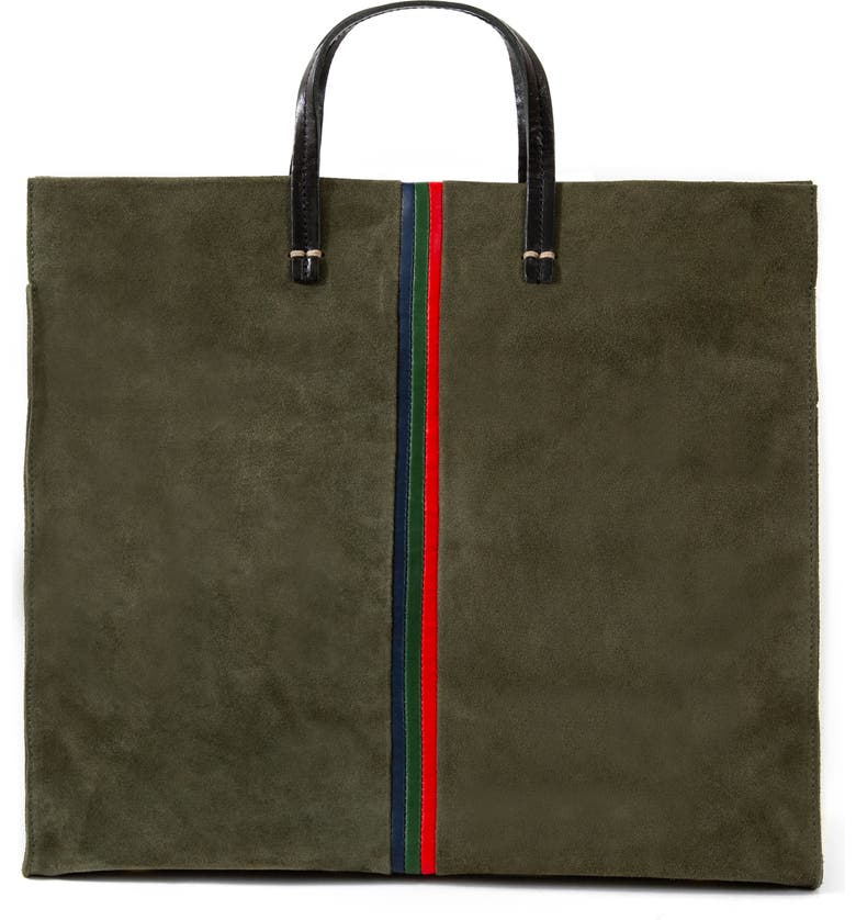 CLARE V. Simple Leather Tote, Main, color, ARMY SUEDE