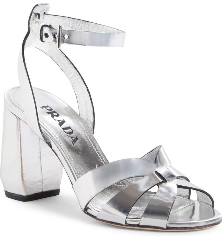 PRADA Ankle Strap Sandal, Main, color, SILVER