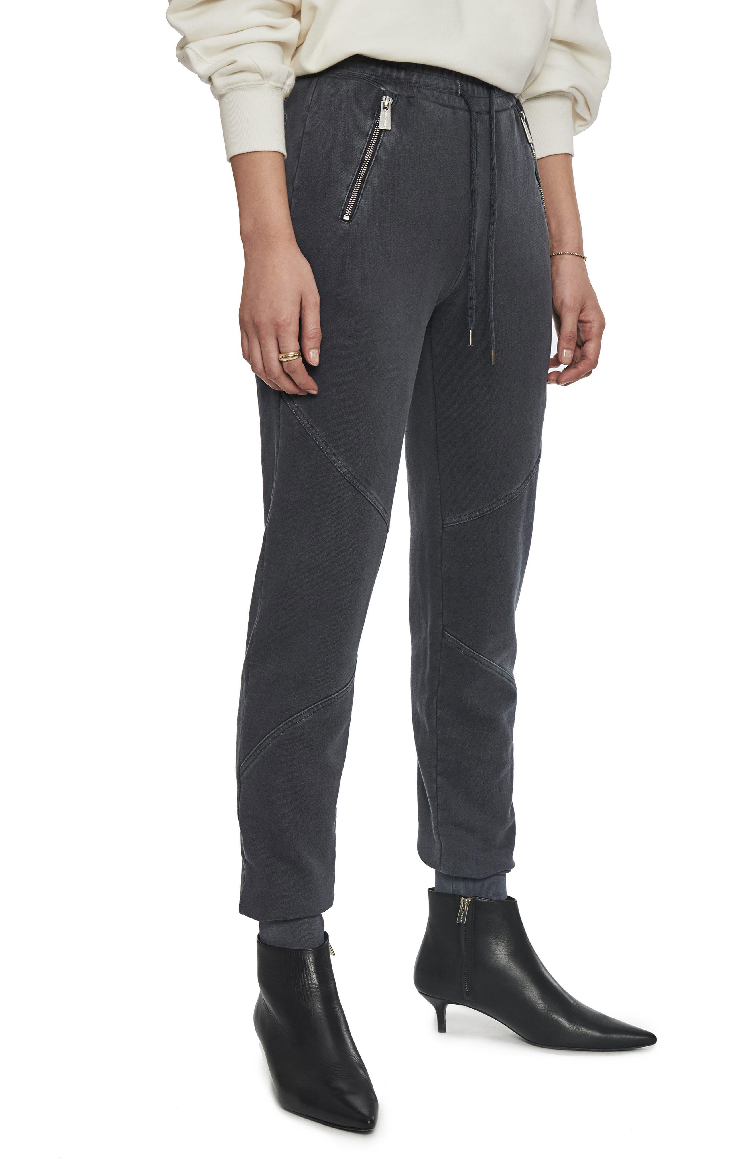 Women's Anine Bing Colette Zip Pocket Cotton Jogger Pants,  Medium - Black