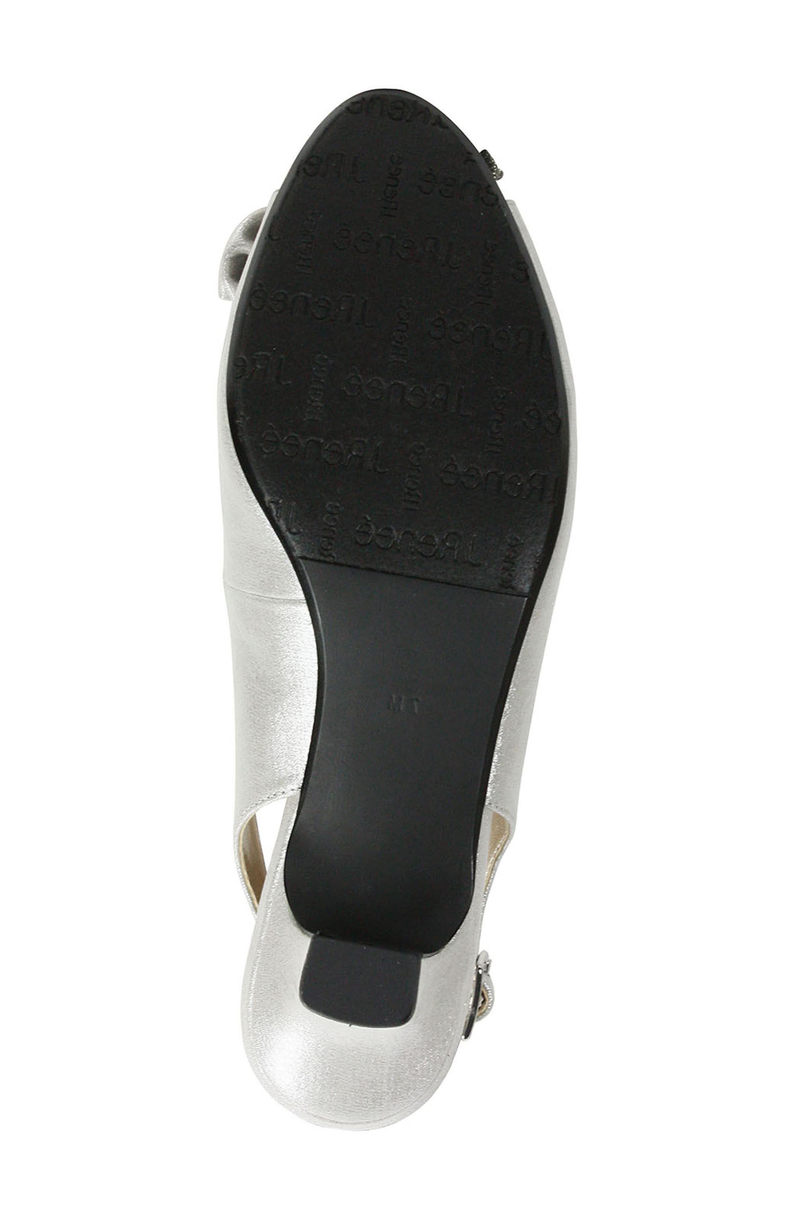 ,                             Leonelle Slingback Crystal Embellished Sandal,                             Alternate thumbnail 5, color,                             SILVER SATIN