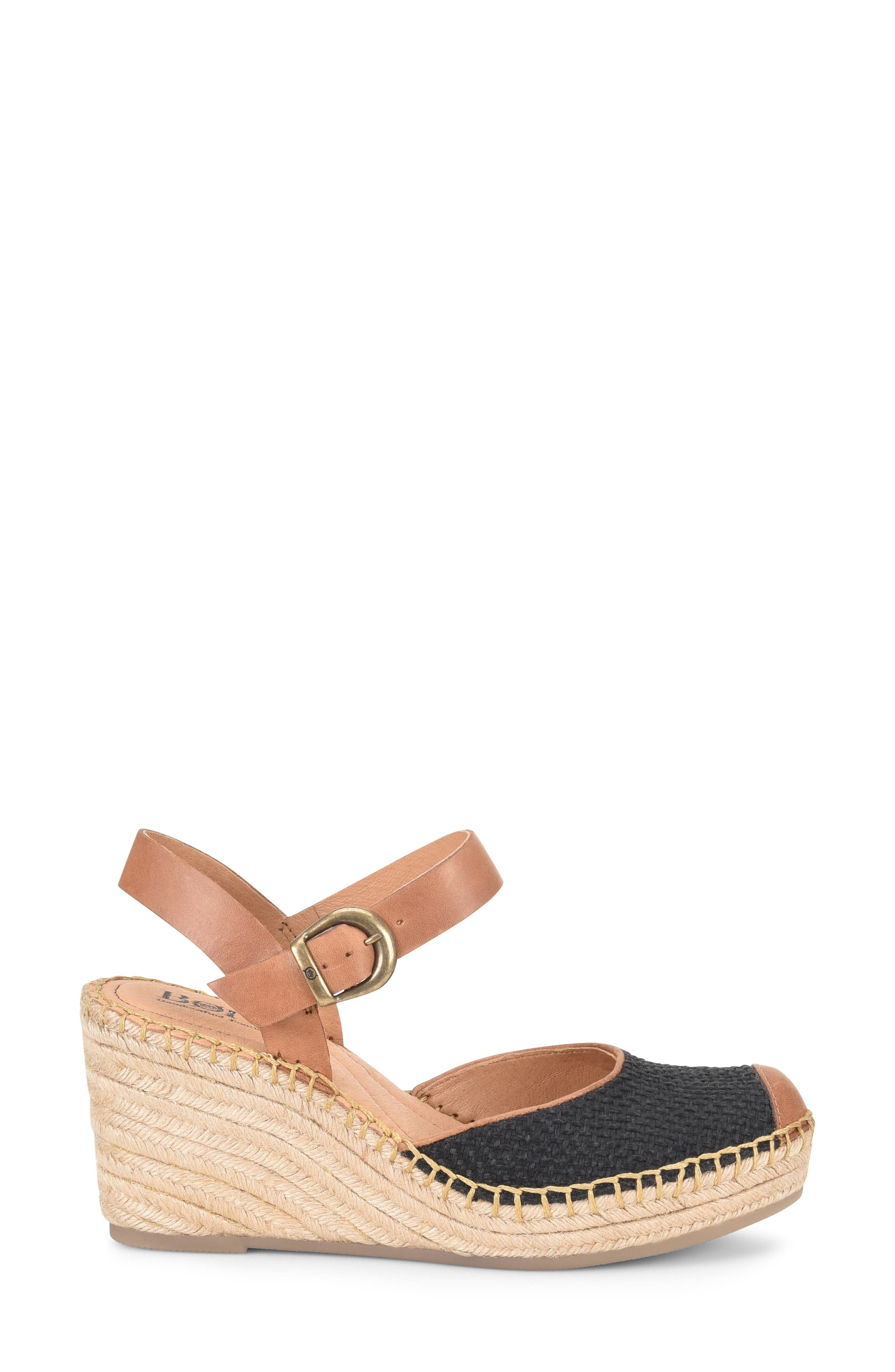 ,                             Guadalupe Wedge Sandal,                             Alternate thumbnail 3, color,                             BLACK/ RUST FABRIC