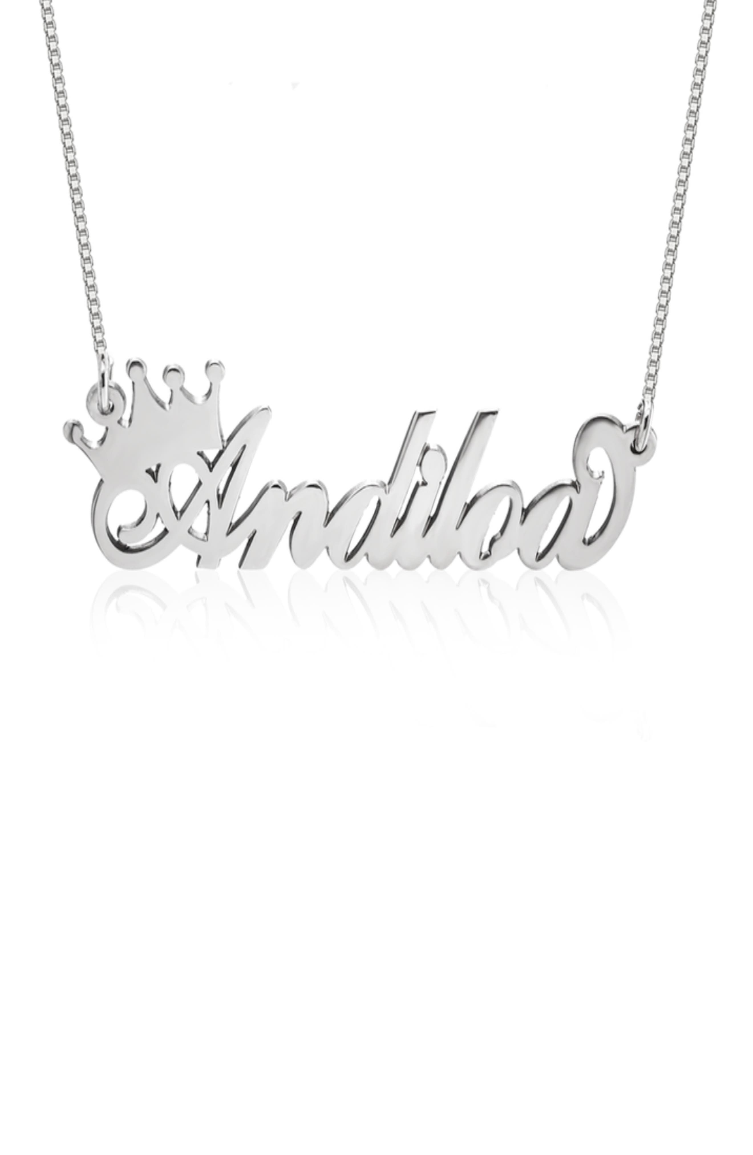 Crown Me Personalized Nameplate Pendant Necklace