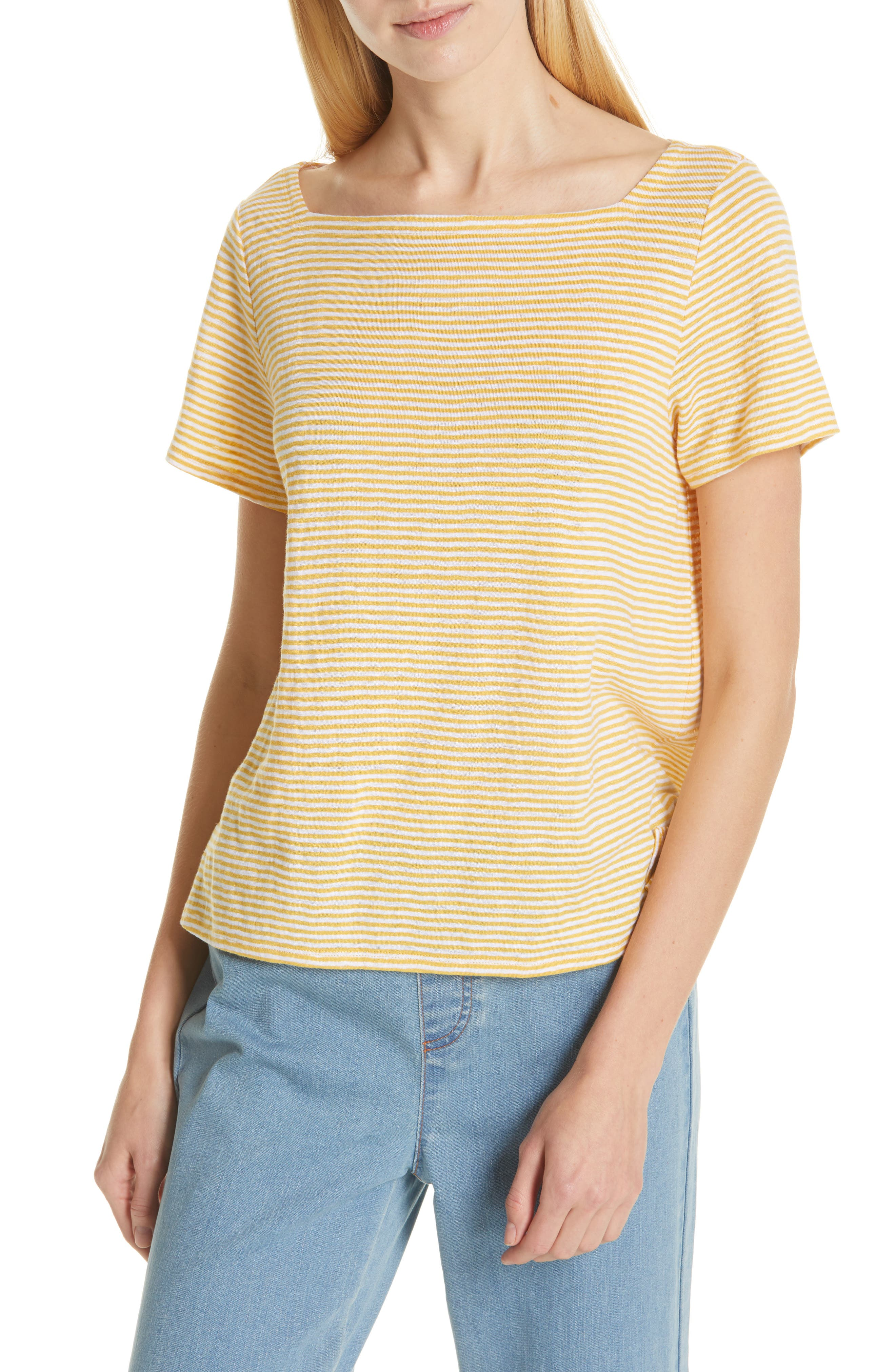 Image of Eileen Fisher Striped Organic Linen T-Shirt