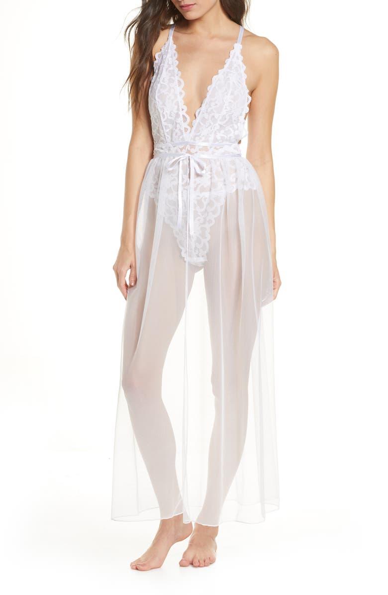 OH LA LA CHERI Jeana Lace Bodysuit with Sheer Mesh Skirt, Main, color, 100
