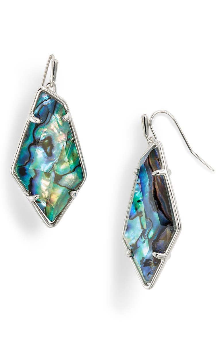 KENDRA SCOTT Emmie Drop Earrings, Main, color, RHODIUM/ ABALONE SHELL