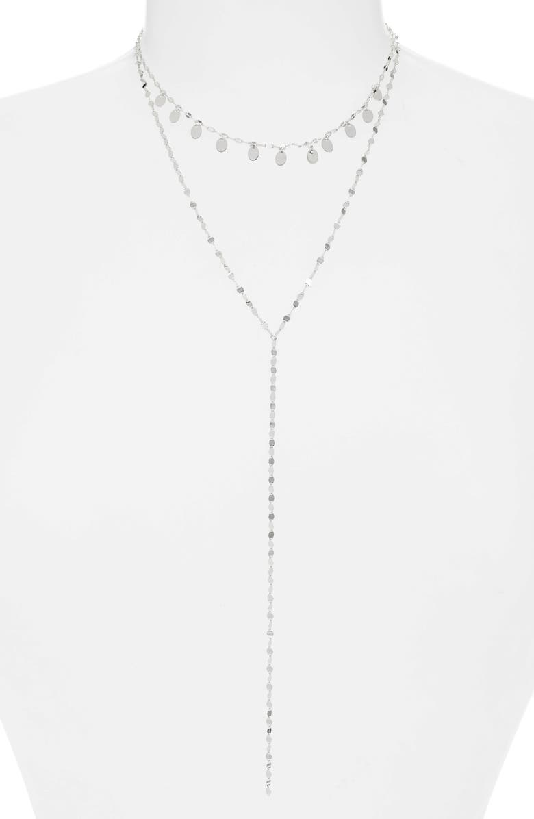 STERLING FOREVER Charm Y-Necklace, Main, color, SILVER