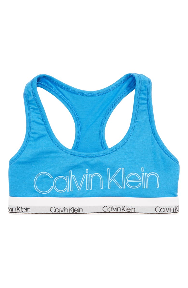 CALVIN KLEIN Racerback Bra, Main, color, FRENCH BLUE