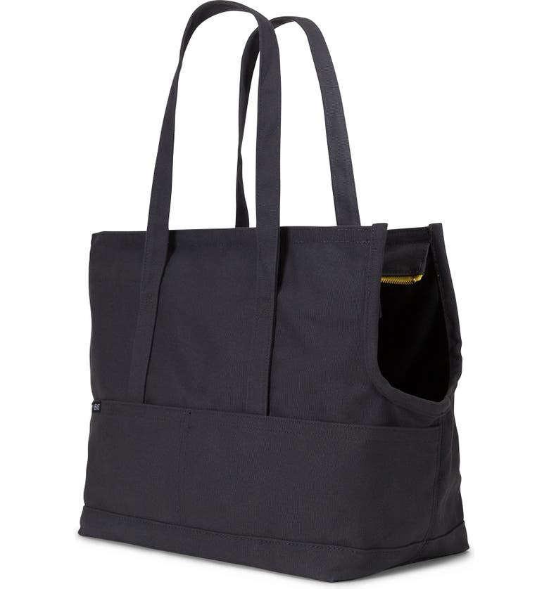 LOVETHYBEAST Waxed Canvas Pet Tote, Main, color, BLACK