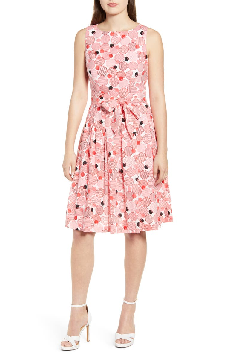 ANNE KLEIN Malibu Bluffs Fit & Flare Dress, Main, color, 100