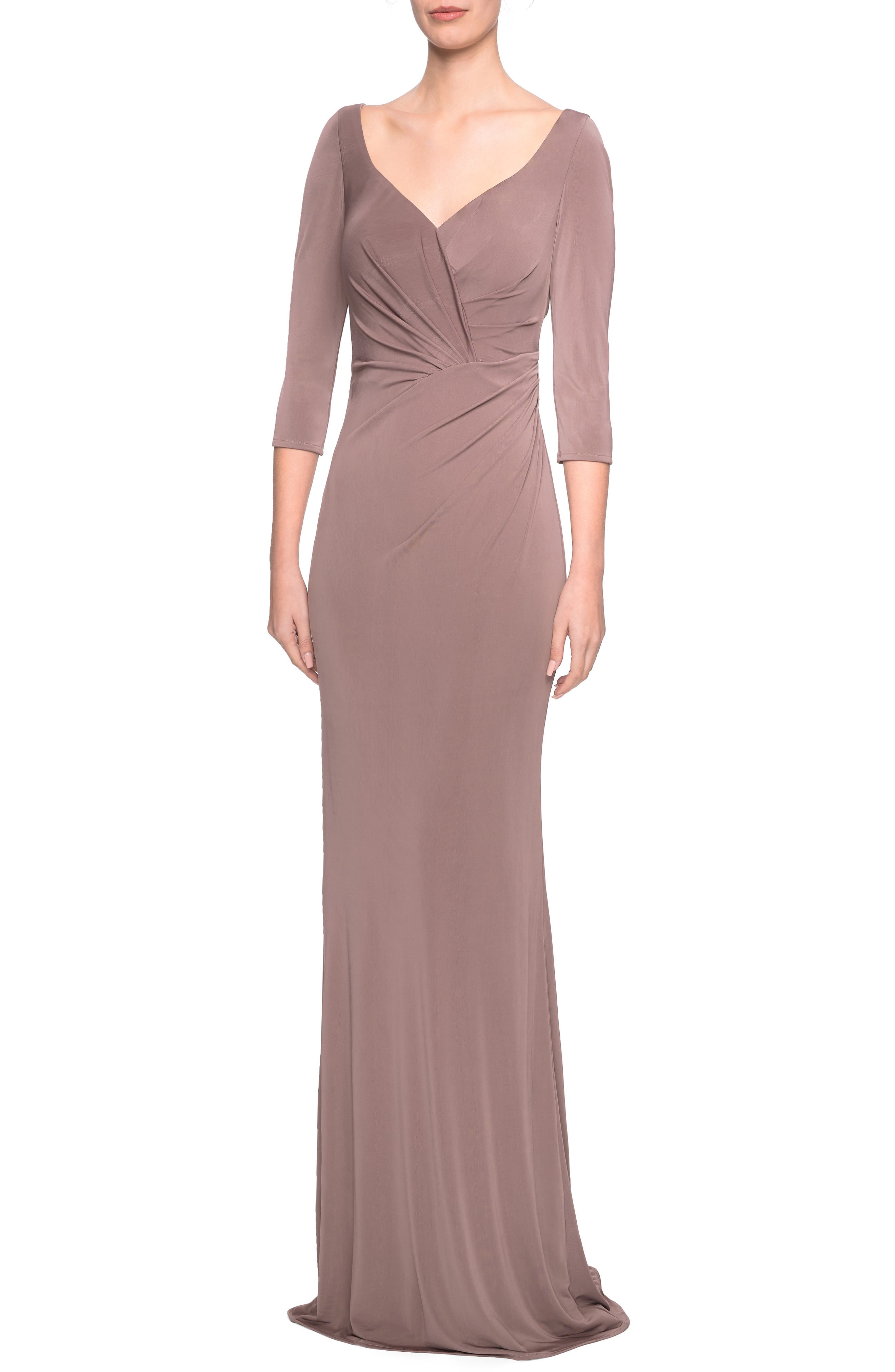 La Femme Ruched Jersey Evening Dress, Brown