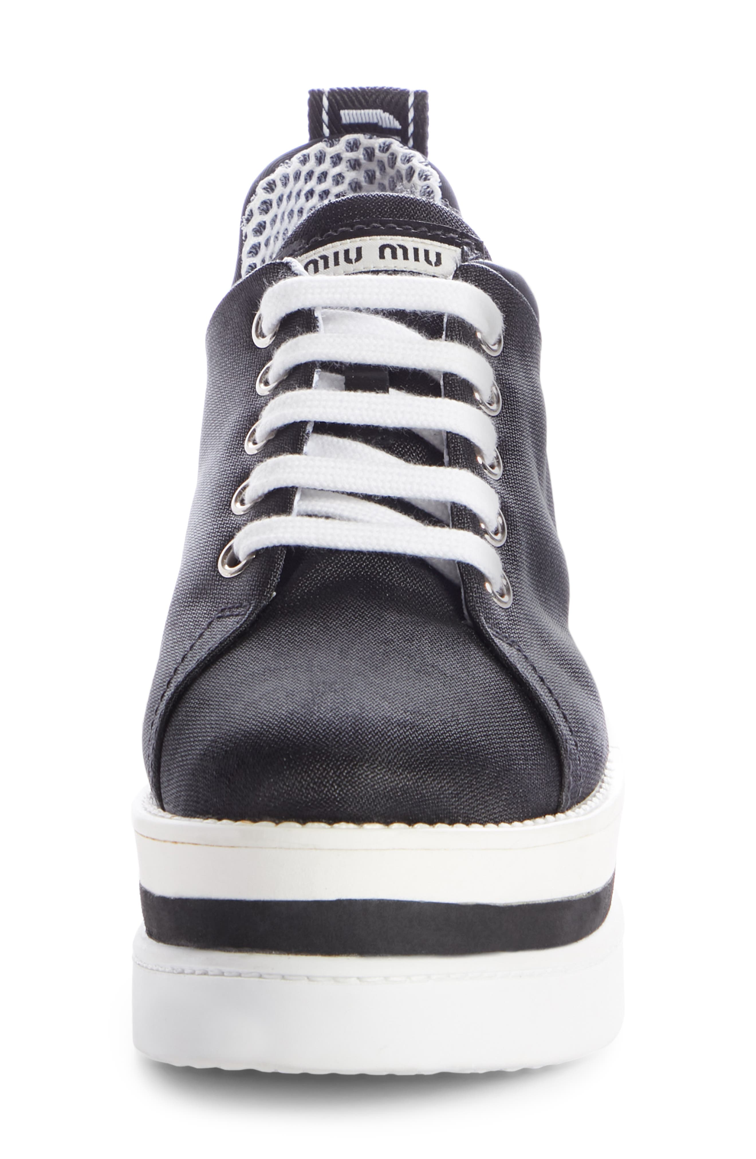 ,                             Platform Wedge Sneaker,                             Alternate thumbnail 4, color,                             BLACK