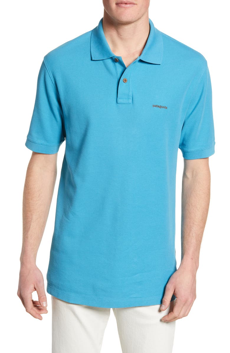 PATAGONIA Belwe Relaxed Fit Piqué Polo, Main, color, MAKO BLUE