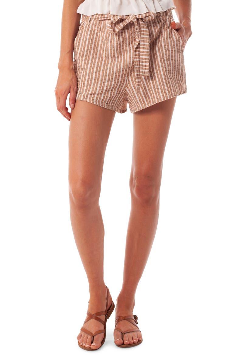 RHYTHM Stripe Cotton Cover-Up Shorts, Main, color, SUNBURN
