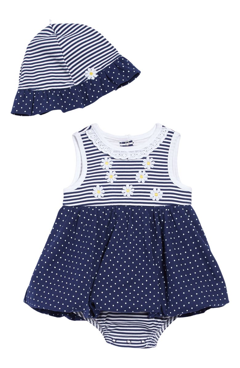 LITTLE ME Daisy Popover Bodysuit & Sun Hat Set, Main, color, BLUE