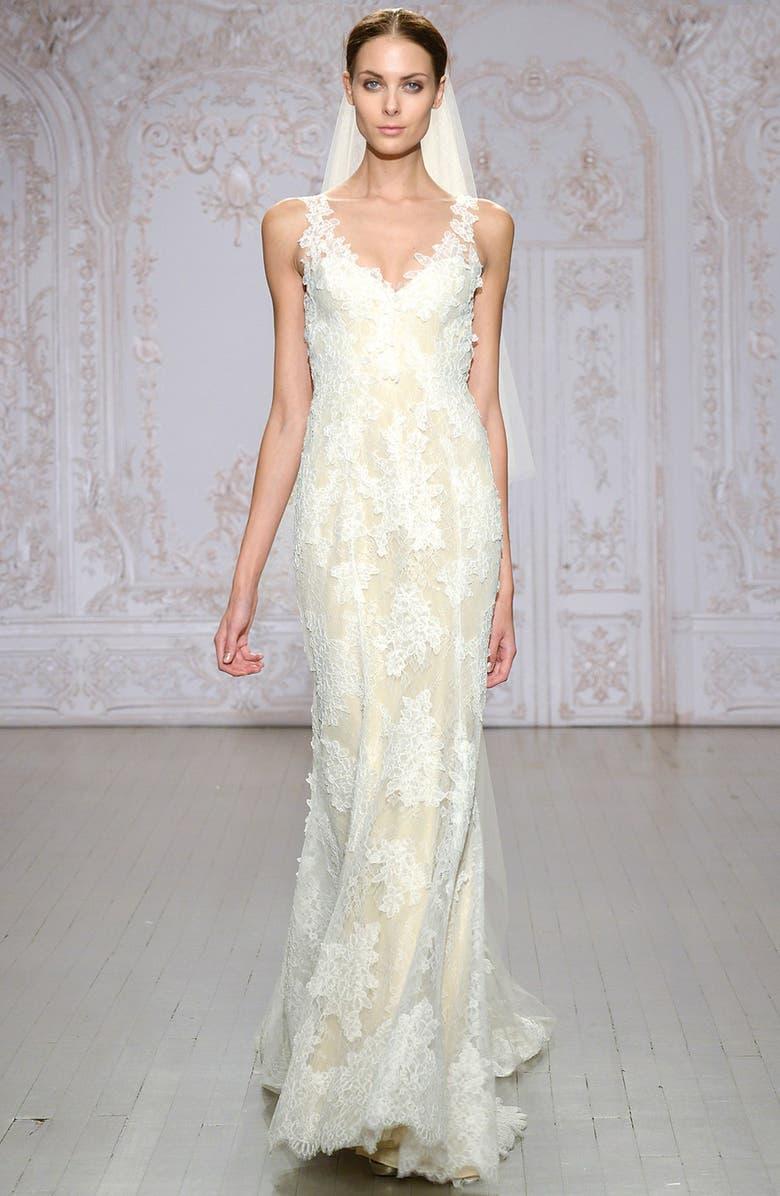 MONIQUE LHUILLIER Calla V-Neck Chantilly Lace Gown, Main, color, SILK WHITE/ NUDE