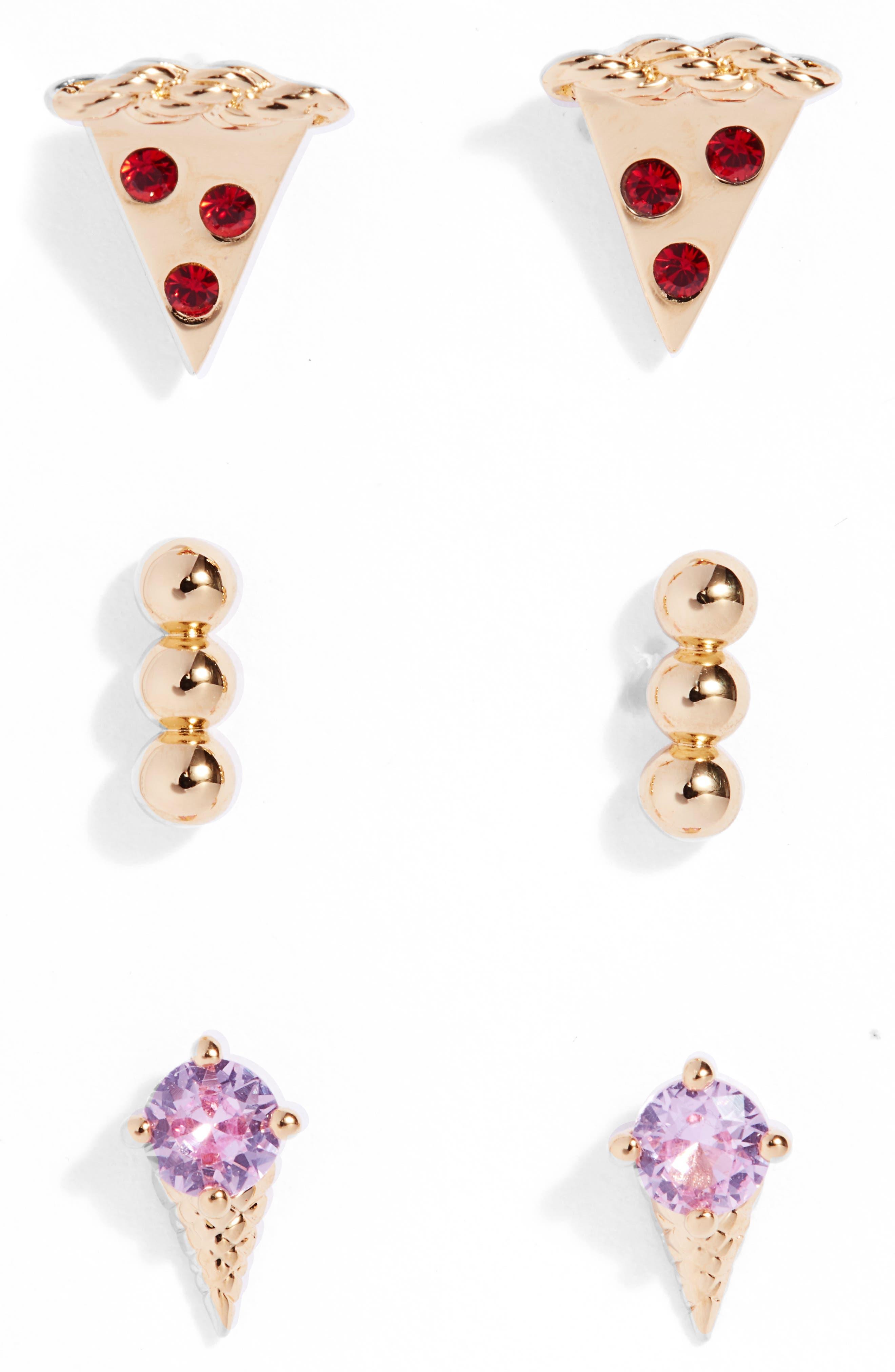 Slaybelles Set Of 3 Stud Earrings