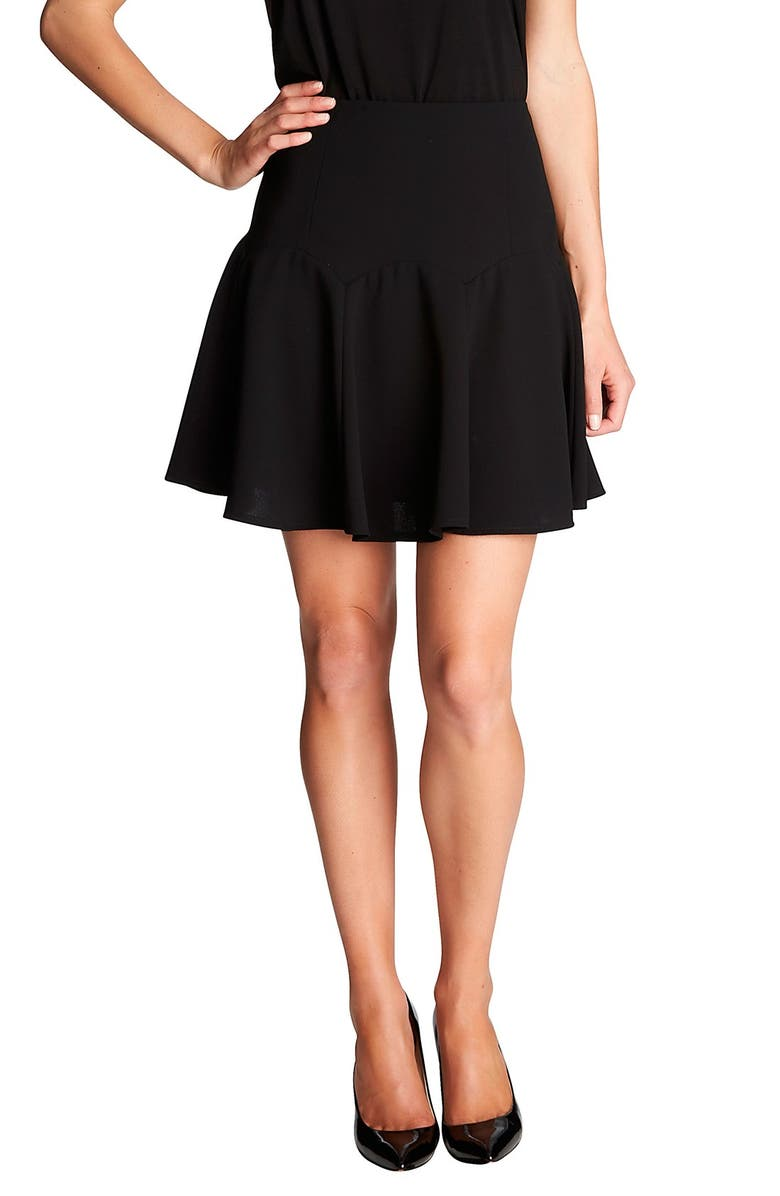 CECE by Cynthia Steffe Stretch Crepe Flounce Skirt, Main, color, 006