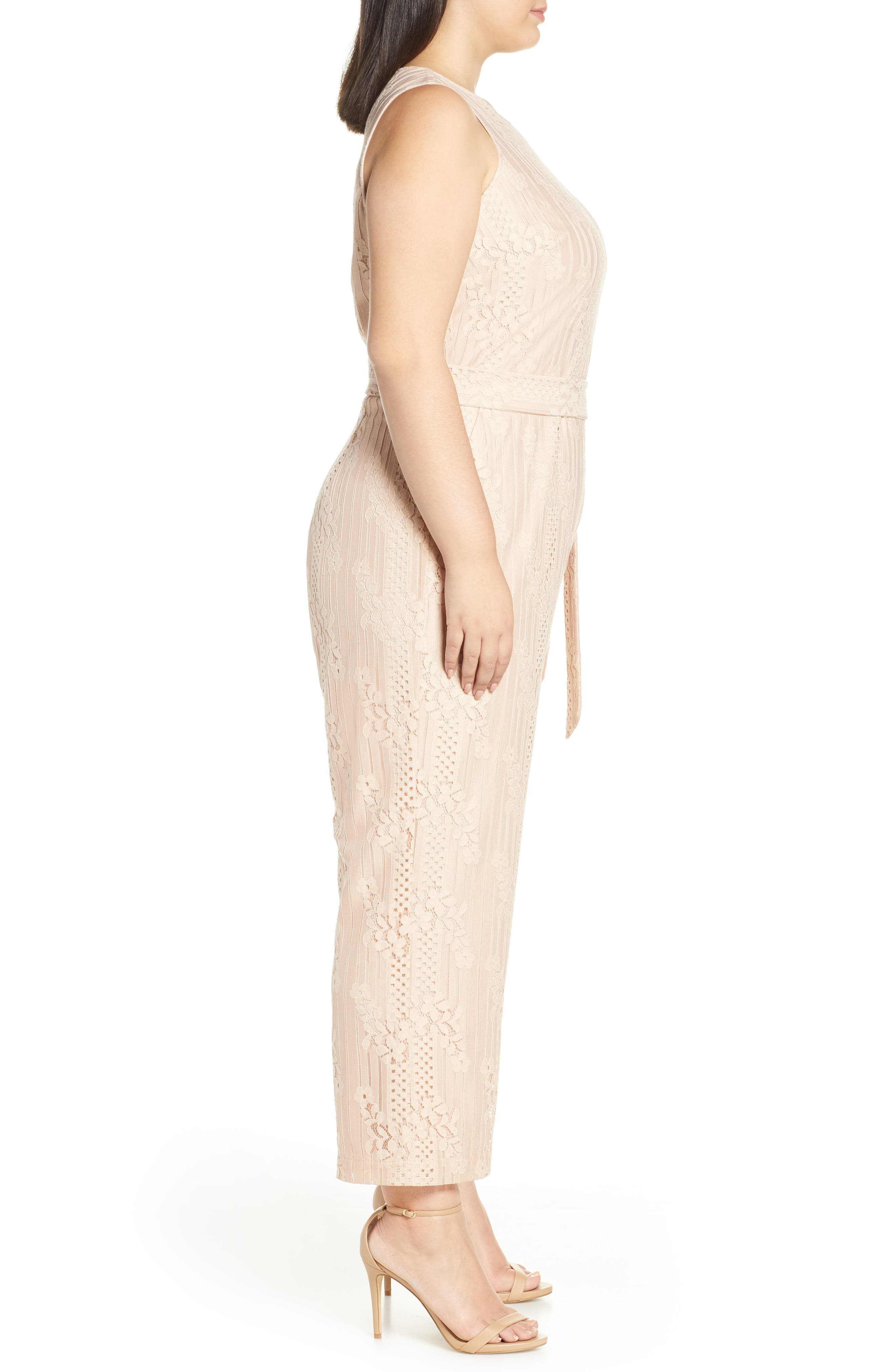 ,                             Lace Belted Jumpsuit,                             Alternate thumbnail 4, color,                             PEACH BELLINI