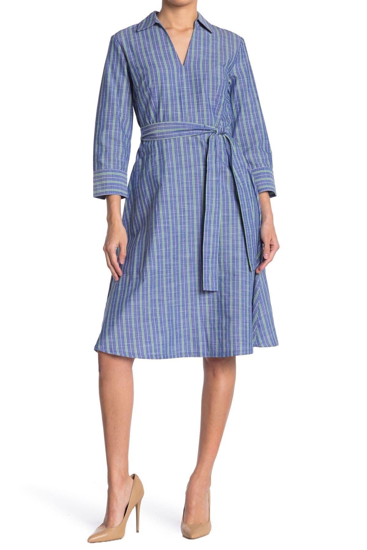 Image of Tommy Hilfiger Striped 3/4 Sleeve Chambray Shirt Dress