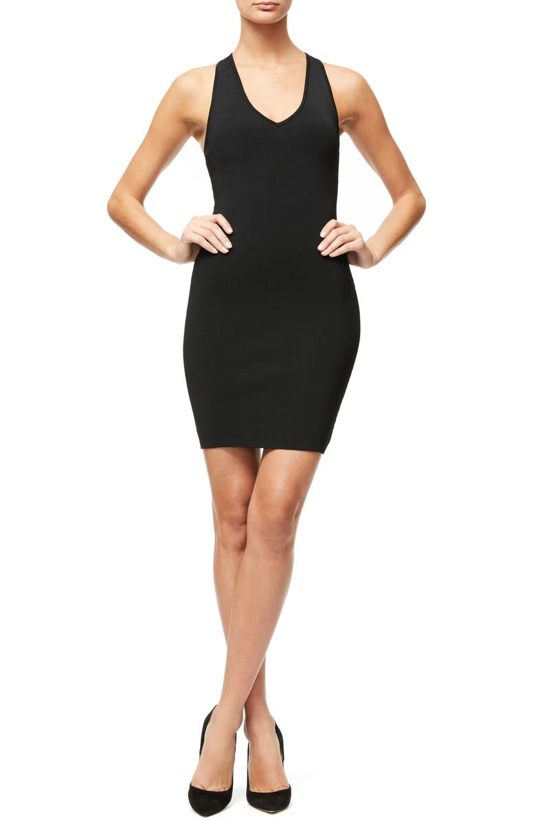 GOOD AMERICAN Ribbed Body-Con Dress, Main, color, BLACK001