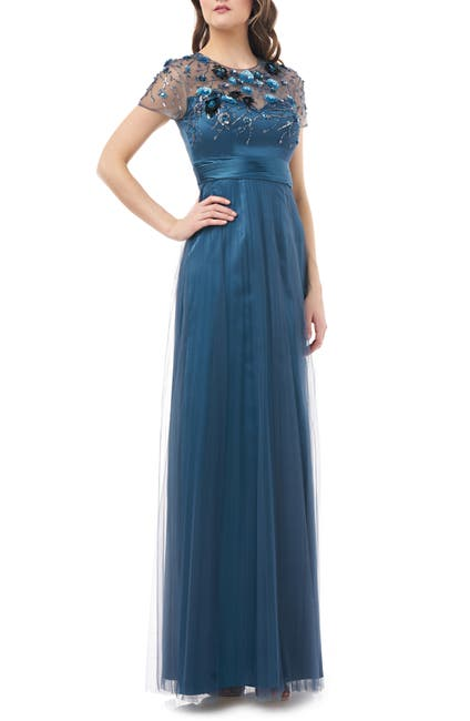 Image of JS Collections Floral 3D Embellished Bodice Gown