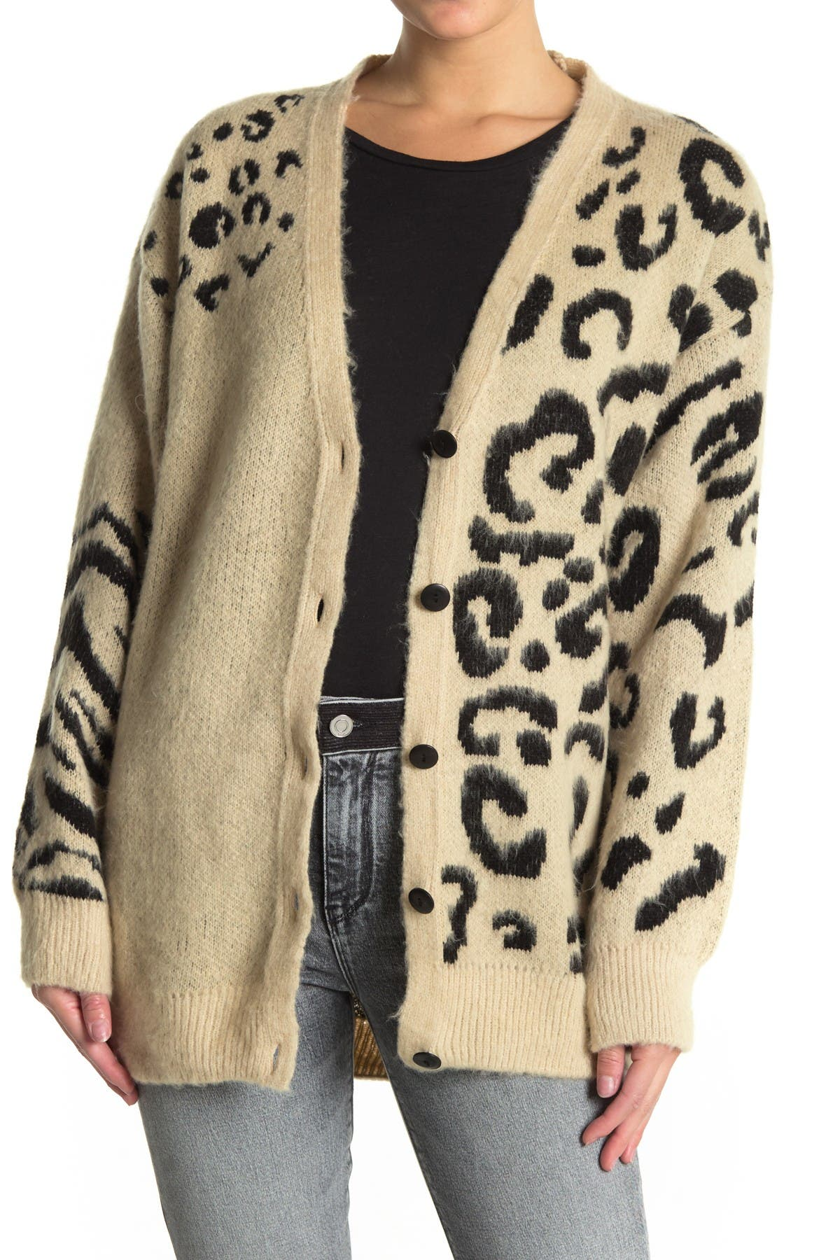 Image of TOPSHOP Leopard Printed Knit Cardigan