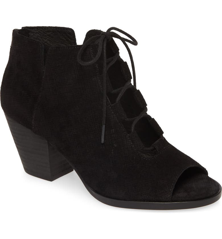 EILEEN FISHER Fallon Open Toe Bootie, Main, color, BLACK SUEDE