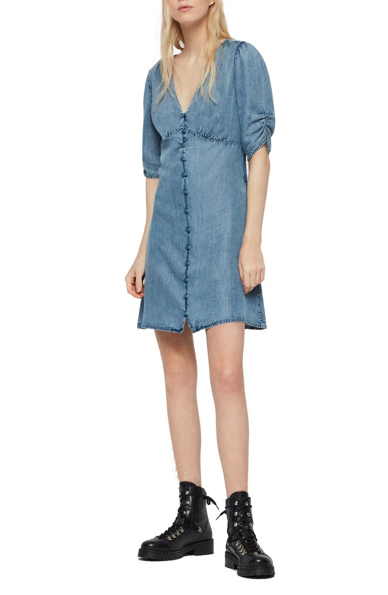 ALLSAINTS Kota Chambray Dress, Main, color, INDIGO BLUE