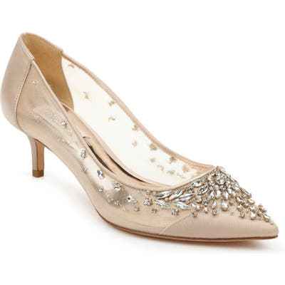 Badgley Mischka Onyx Kitten Heel Pump, Beige