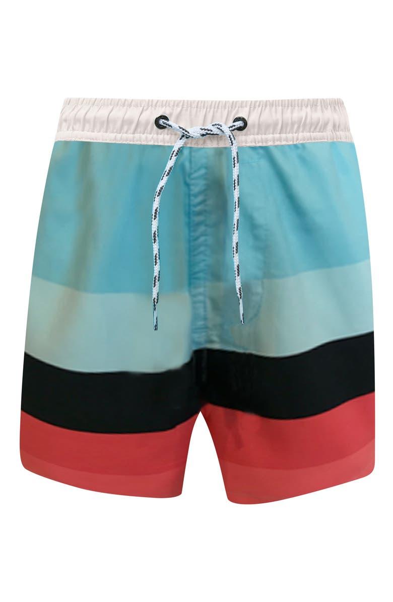 SNAPPER ROCK Surf Stripe Swim Trunks, Main, color, OPEN BLUE