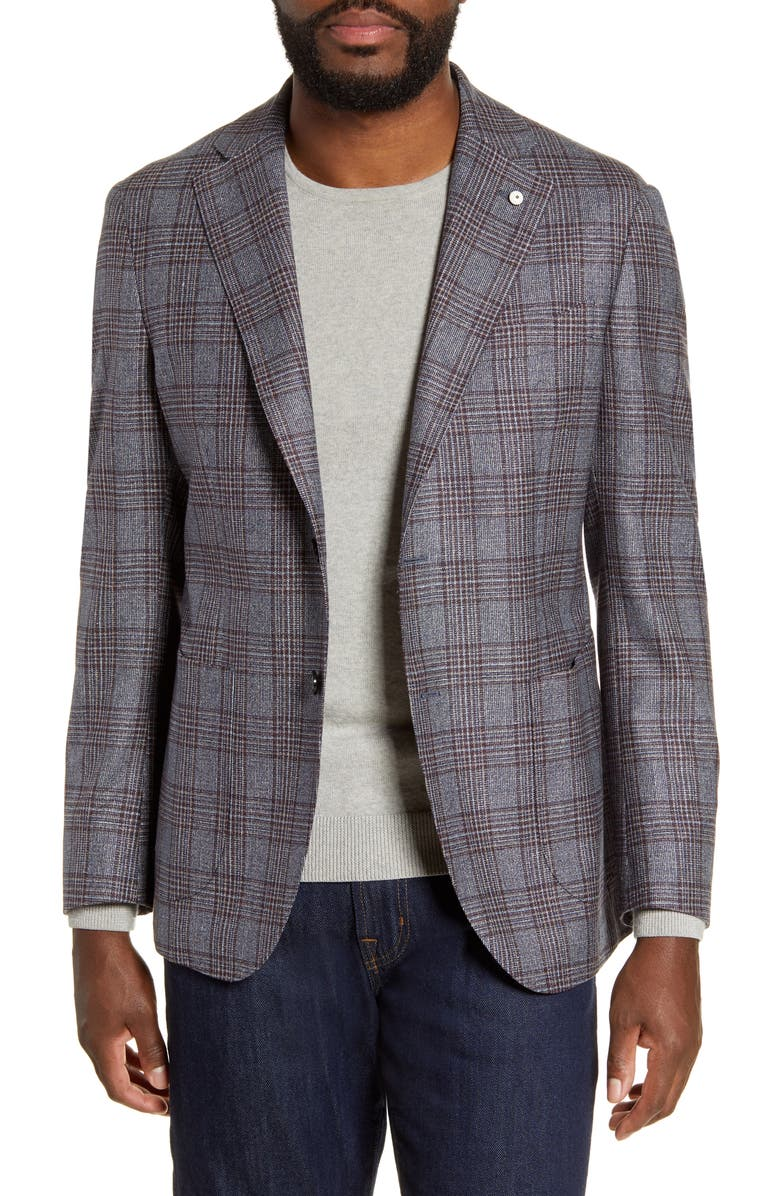 L.B.M. 1911 Trim Fit Plaid Silk & Wool Sport Coat, Main, color, TURQUOISE/ AQUA