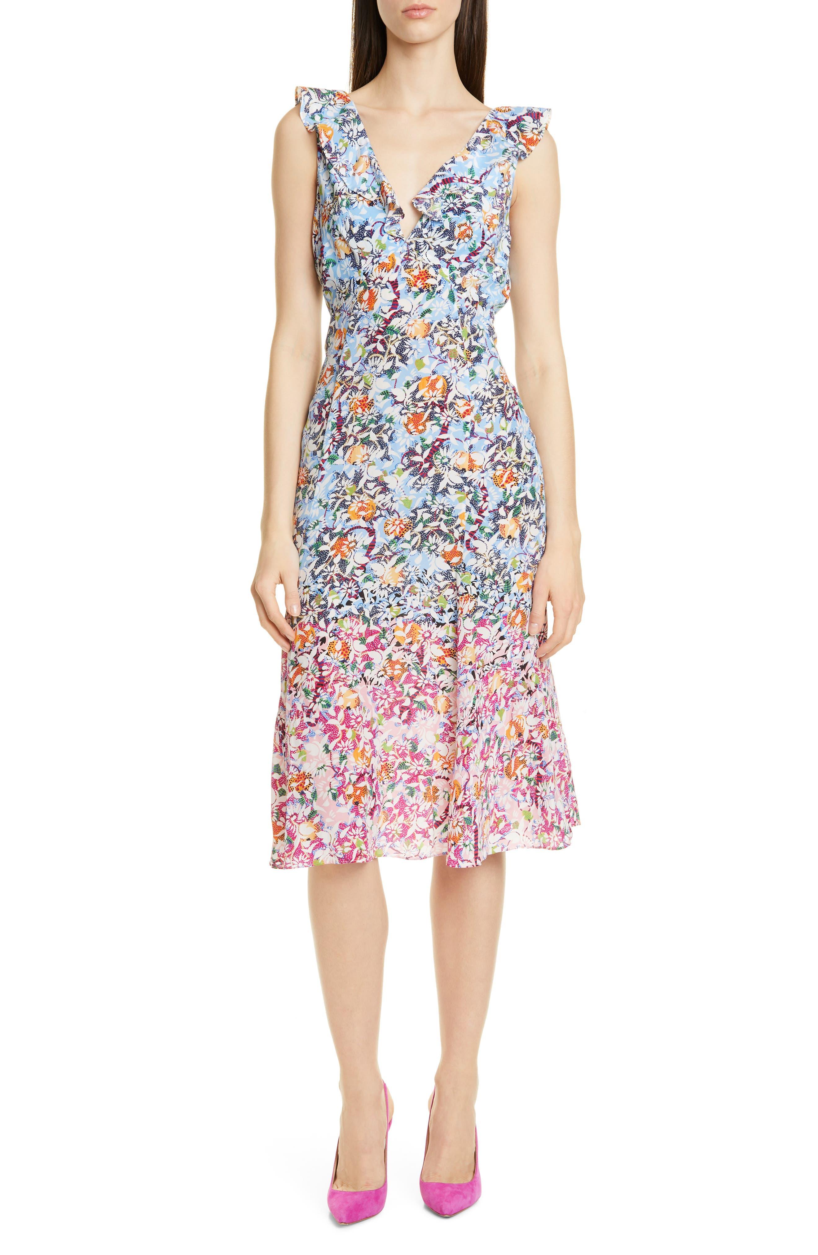 Saloni Holly Floral Print Silk A-Line Dress, Pink