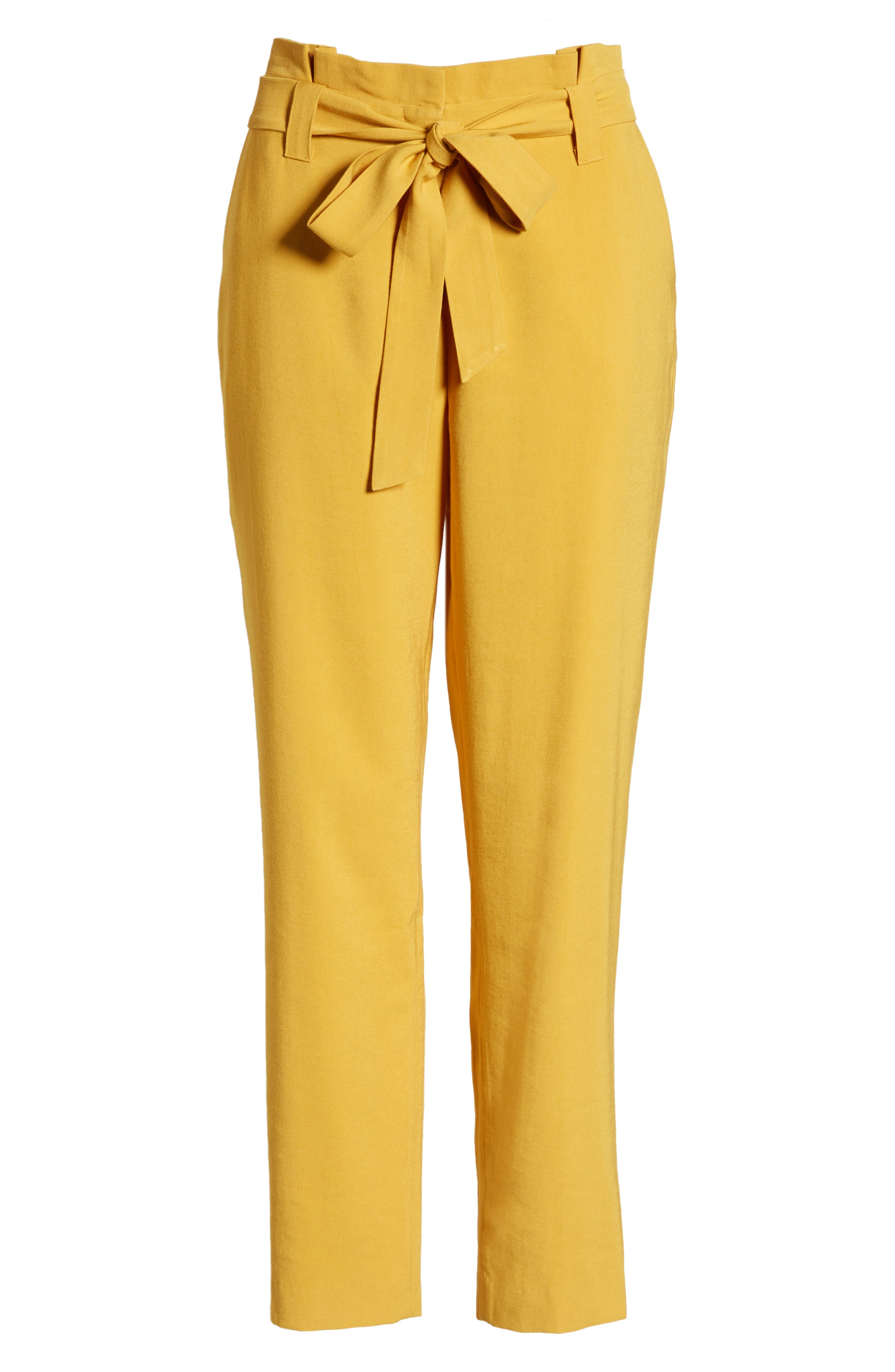 ,                             High Waist Tie Twill Pants,                             Alternate thumbnail 7, color,                             YELLOW MINERAL