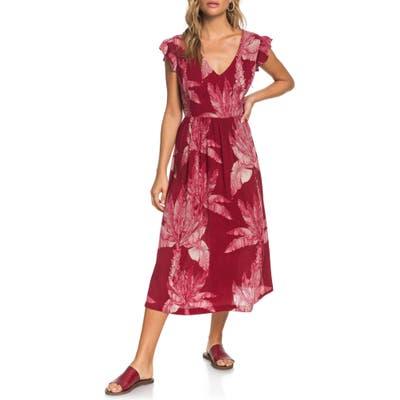 Roxy Rush Minute Ruffle Midi Dress, Burgundy