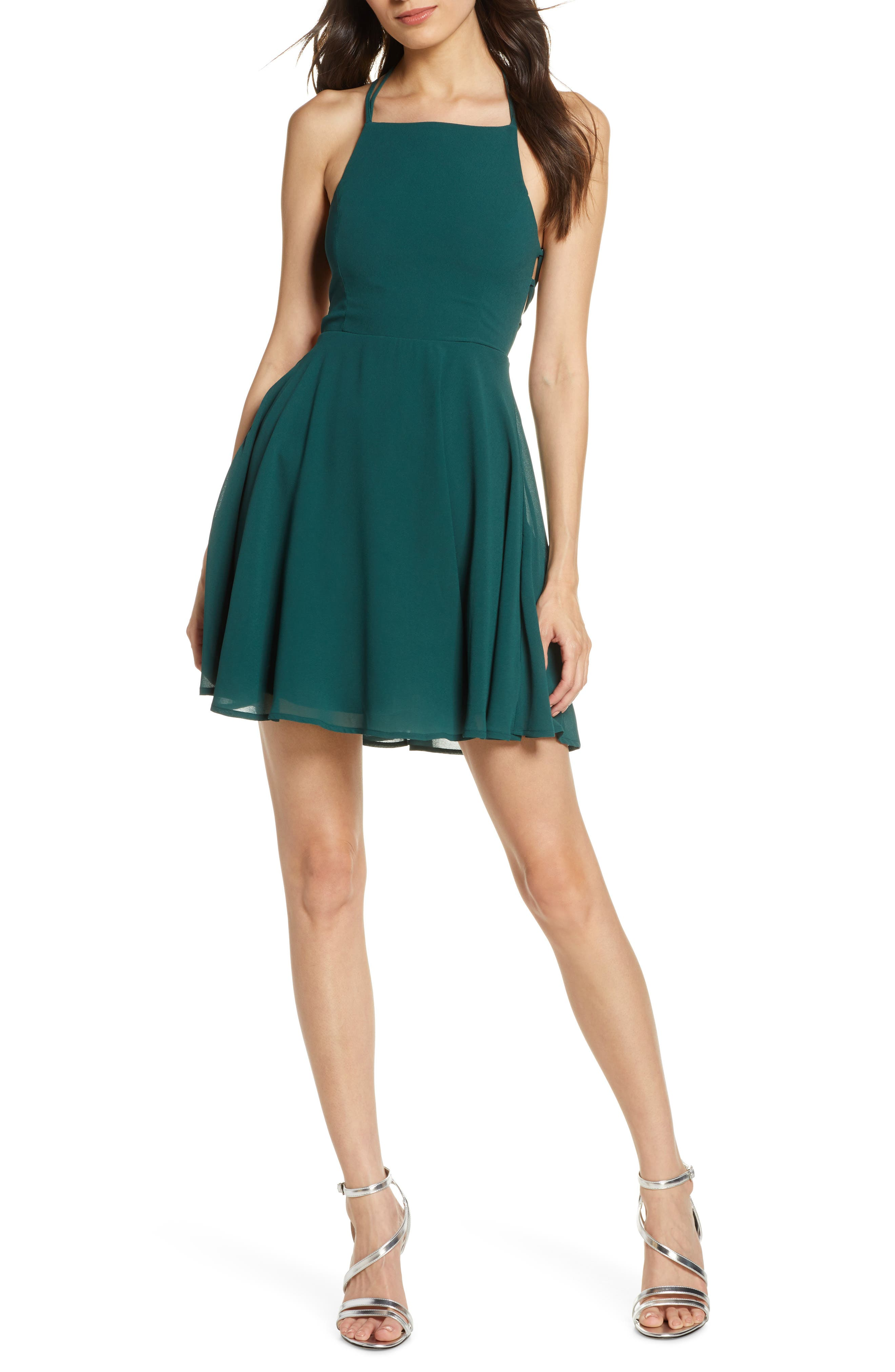 Lulus Good Deeds Lace-Up Skater Minidress