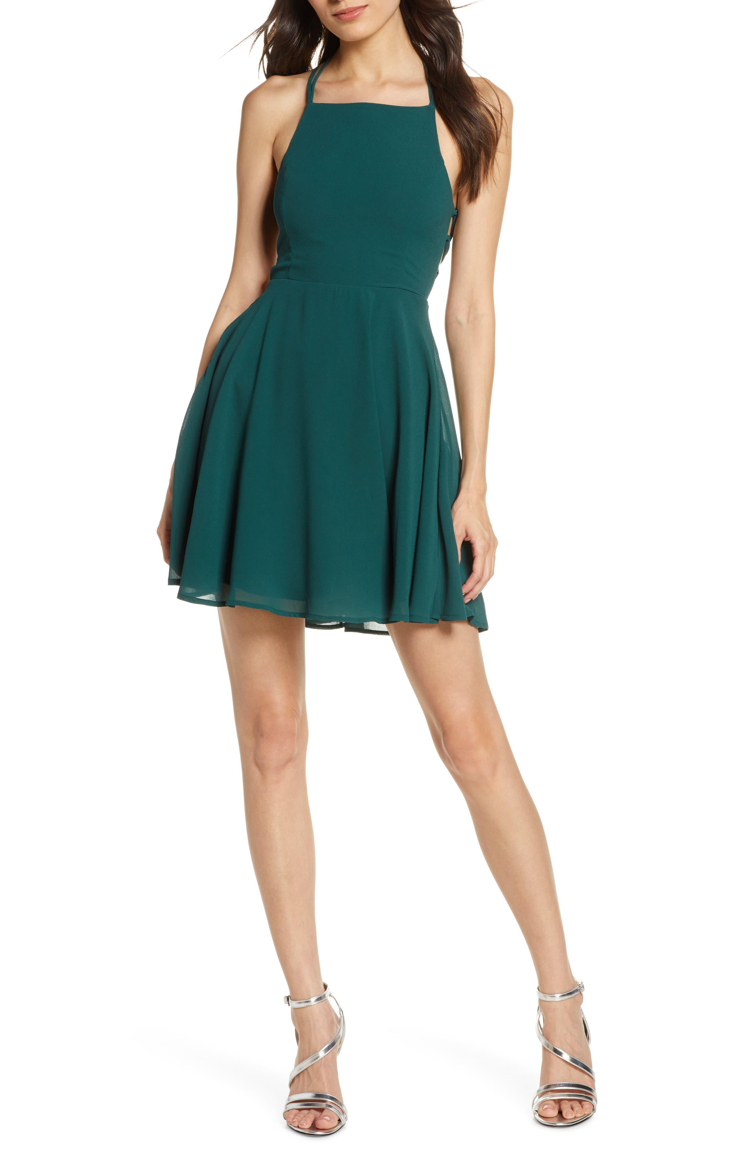 Lulus Good Deeds Lace-Up Skater Dress, Green