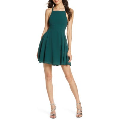 Lulus Good Deeds Lace-Up Skater Minidress, Green